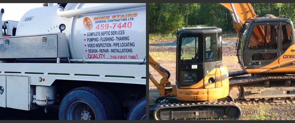 septic pump truck and excavators