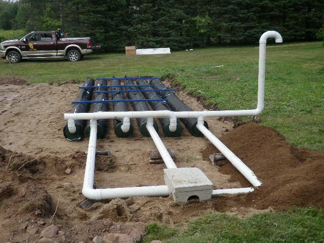pipes being installed for the septic system