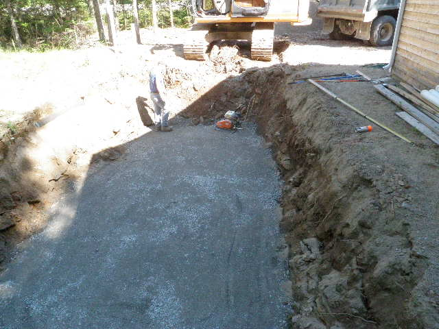 concrete poured in the excavated ground
