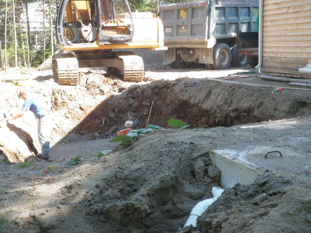 ground excavated for septic tank